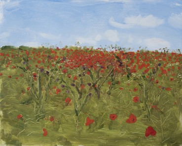 Danny Markey  Poppy Field and Blue Sky  Oil on board  23.5 x 29.5 cm  Signed and dated verso