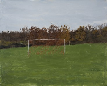 Danny Markey  Goal with Orange Nets  Oil on board  30.8 x 38.3 cm  Signed and dated verso
