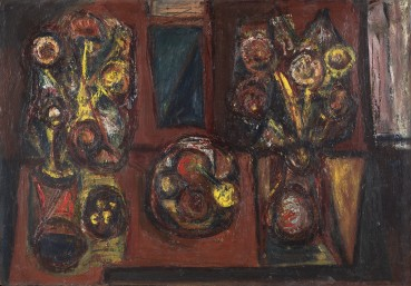 Alan Davie  Two Vases and a Bowl of Fruit, 1943-1945  Oil on board  67 × 98.5 cm