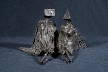 Lynn Chadwick  Sitting Couple, 1975  Patinated bronze  21 × 36 × 28 cm