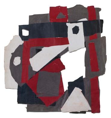 Francis Davison  D 15 (Dark red, green, purple + white), 1971  Collage  99 x 93 cm