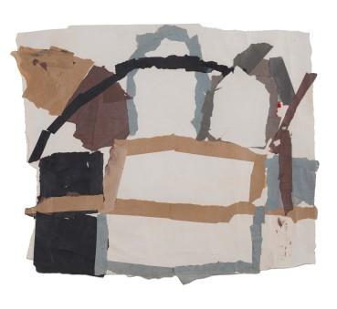 Francis Davison  F 9 (Outlined oblongs, black curve)  Collage  57 x 65 cm