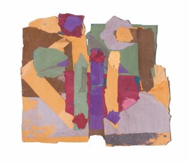 Francis Davison  G 32 (Purple crimson and apricot) , c.1978-83  Collage  60 x 70 cm