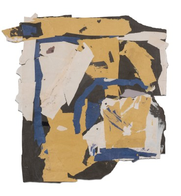 Francis Davison  G 601 (Parchment and cream torn with grey and blue), c.1978-83  Collage  60.5 x 61 cm