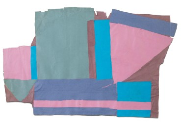 Francis Davison  C 193 (Pink, blue, turquoise and fish green)  Collage  64 x 108 cm