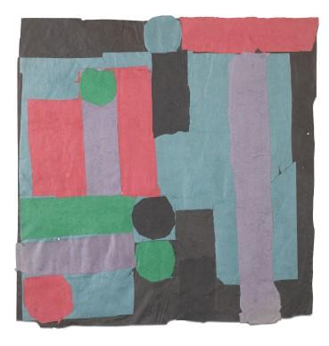 Francis Davison  C 15 (Pale jade, rose red + grass green), c.1965-71  Collage  75 x 73 cm