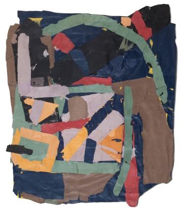 Francis Davison  H 9 (green ark blue black red and lavender), c.1978-83  Collage  104 x 87 cm