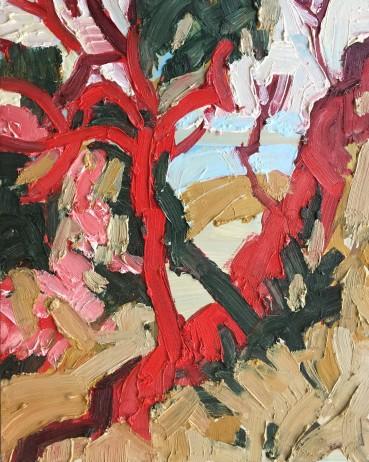 Ffiona Lewis  Rhubarb, Rhubarb! , 2020  Oil on Gesso Board  30 x 24 cm