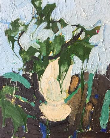 Ffiona Lewis  Vine Cutting, 2020  Oil on Gesso Board  30 x 24 cm