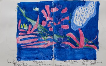 Ffiona Lewis  Tickled Pink, 2019  Mixed media on paper, diptych  24.5 x 39 cm