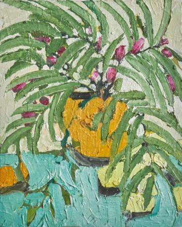 Ffiona Lewis  Fruity Fanfare, 2021  Oil on Board  30 x 24 cm