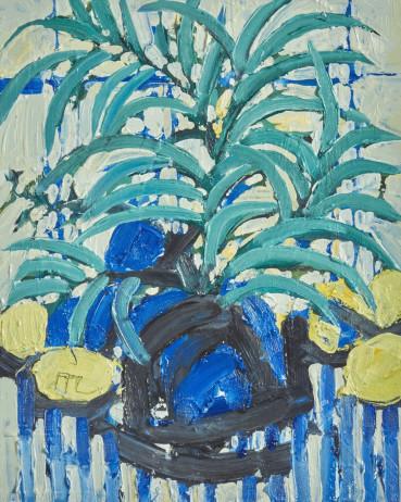 Ffiona Lewis  Blue Ballyhoo!, 2021  Oil on Board  30 x 24 cm