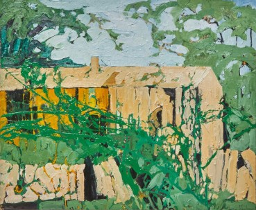 Ffiona Lewis  Long Barn, Come a Cropper, 2021  Oil on Board  50 x 60 cm