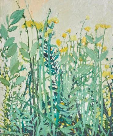 Ffiona Lewis  Garden - Lemon Yellow, 2020  Oil on Gesso Board  50 x 60 cm