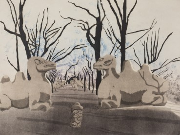 Patrick Procktor  Camels, Tomb of the First Emperor of the Ming Dynasty, Zhu Yuan Shang, Nanking, 1980  Aquatint with sugar-lift  45.3 x 60 cm  Edition of 75  Signed