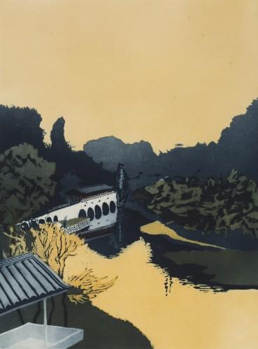 Patrick Procktor  Flower Bridge, Kweilin, 1980  Aquatint  60.2 x 44.7 cm  Edition of 75  Signed