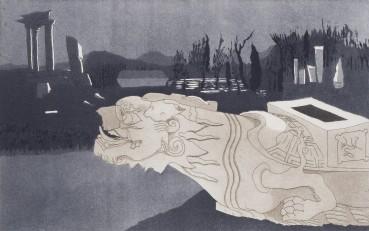 Patrick Procktor  Fallen Turtle, Yuan Ming Yuan, Peking, 1980  Hard-ground etching and aquatint  25.2 x 40.2 cm  Edition of 10  Signed