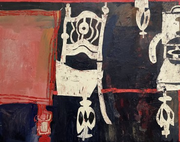 Florence Hutchings  Musical Chairs , 2020  Oil paint and collage on canvas  110 x 140 cm