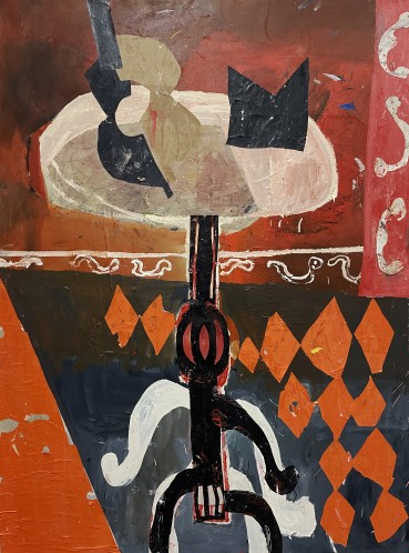 Florence Hutchings  Guitar Lessons , 2020  Oil paint, oil bar and collage on canvas  180 x 135 cm