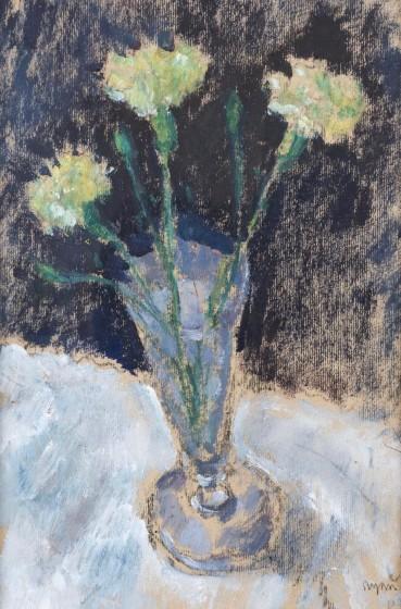 Adrian Ryan  Yellow Carnations, c.1988  Oil on card  29 x 20cm