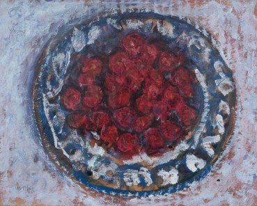 Adrian Ryan  Cherries on a Greek Plate, 1990  Oil on board  20 x 25cm  Signed twice the wrong way up