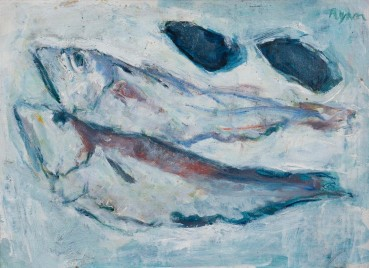 Adrian Ryan  Two Fishes and Mussels, c.1970  Oil on canvas  24 x 34cm