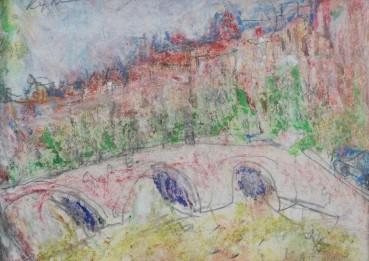 Adrian Ryan  Bridge over the Seine, 1998  Pastel and pencil on paper  8 x 11cm