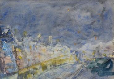 Adrian Ryan  Dieppe Train Under Stars, 1970  Watercolour on paper  17 x 29cm
