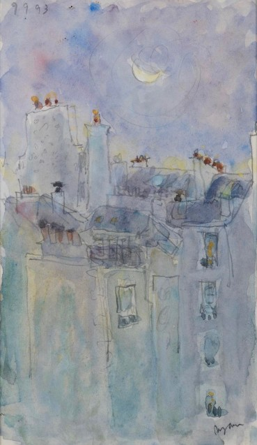 Adrian Ryan  Paris Moon, 1993  Watercolour over pencil on paper  21 x 12cm