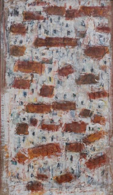 Adrian Ryan  Mediterranean White Town, 1990  Oil on canvas  27 x 16cm  Reversible, signed twice