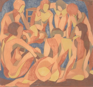 Lill Tschudi  Nudes, 1933  Linocut on thin off-white oriental laid paper  26 x 28 cm  Numbered 15 from the edition of 50 impressions  Signed, numbered, and titled