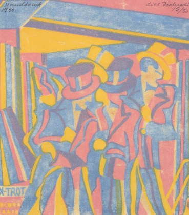 Lill Tschudi  Jazz Band, 1930  Linocut on thin white mulberry paper  18.8 x 17 cm  Numbered 15 from the edition of 50 impressions  Signed and numbered