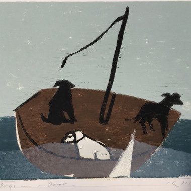 Keith Purser - Dogs in a Boat (White Triangle), 2015