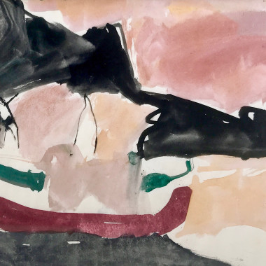 Peter Potworowski - Figures in a Mediterranean Harbour, c 1950s