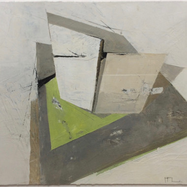 Ffiona Lewis - Corner Glass on Lemon Green, 2014