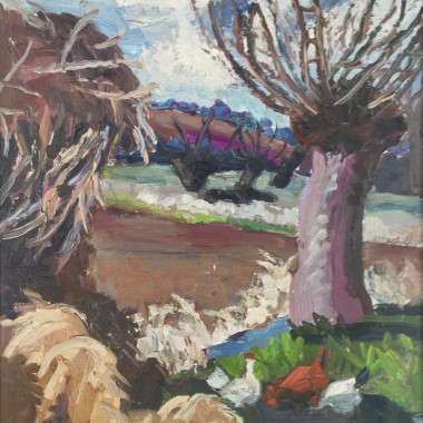 Lucy Harwood - Field, Trees, Chickens, c 1940s