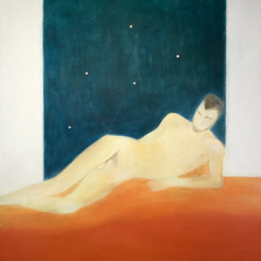 Craigie Aitchison - Figure and Orange Blanket, 1975