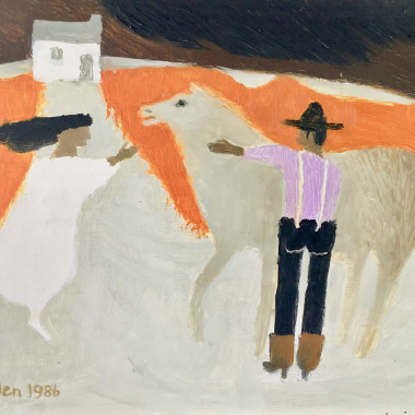 Mary Fedden - Man, Woman and Horse, 1986