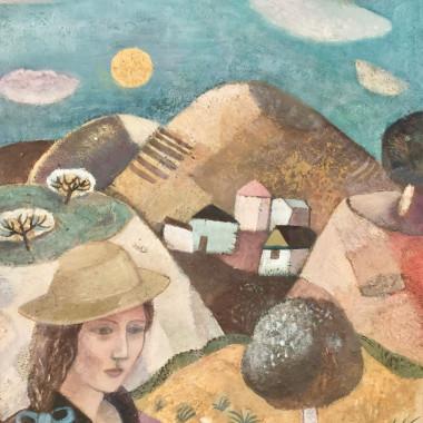 Gwyneth Johnstone - Girl in a Straw Hat, c 1980s
