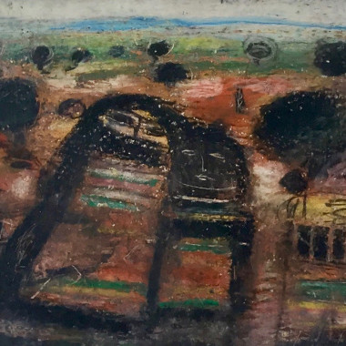 Fateh Moudarres - Untitled (Four Figures in a Landscape), c 1960s
