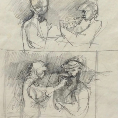 Keith Vaughan - Sketch for Labourers Lighting a Cigarette