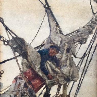 Henry Scott Tuke - Stowing the Head Sails, c 1910s