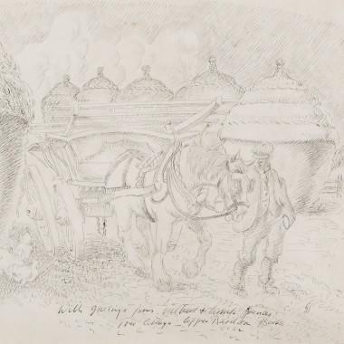 Gilbert Spencer - Farmer, Horse and Hay-cart, c 1930s