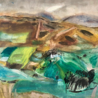Elizabeth Blackadder - Landscape with White House and Horse, c 1960s