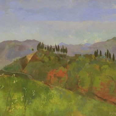 Reginald Brill - Mountain Landscape with Cypress Trees, Italy, c 1951