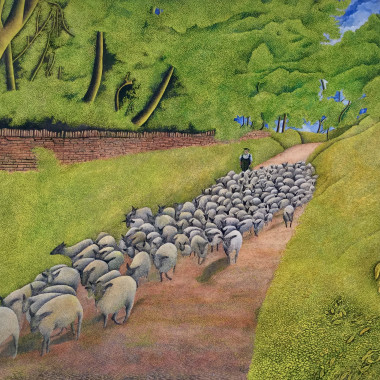 James Lloyd - Herding Sheep, c 1960s