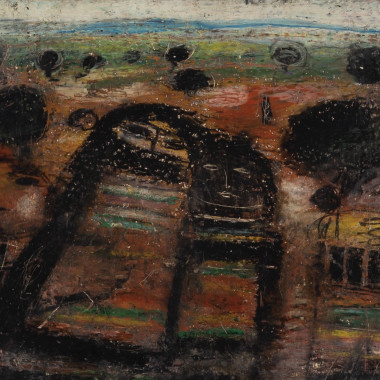 Fateh Moudarres - Untitled (Four Figures in a Landscape), c 1960s