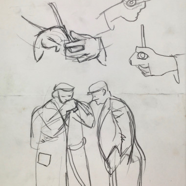 Keith Vaughan - Studies for Lighting a Pipe, c.1946