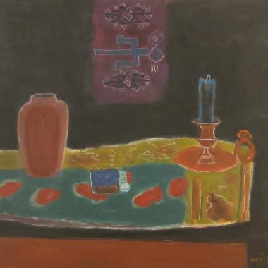 Henri Hayden - Nature morte au bougeoir et au vase, 1952