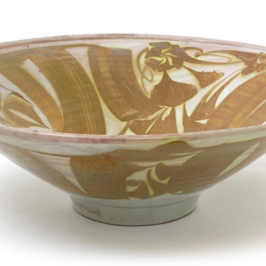 Alan Caiger-Smith - Large flared bowl with a foliate motif in ochre (T7), 1963